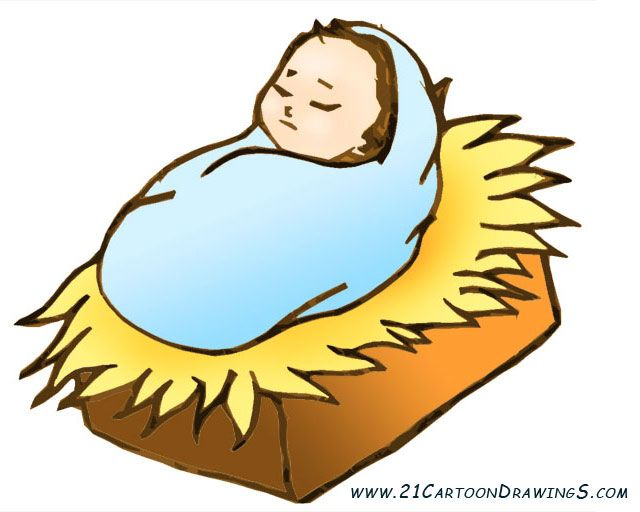 Just born baby Jesus cliparts and coloring pages for children.