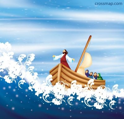 Lesson 11: Jesus Calms the storm boat image for ocean in a bottle.