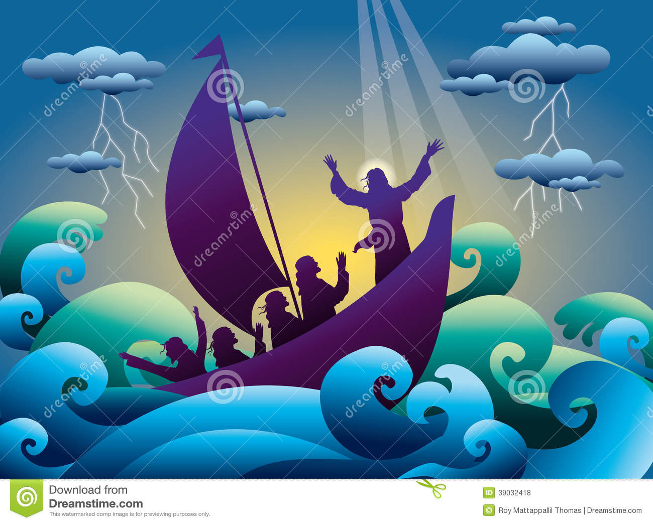 Jesus Calms The Storm On The Boat Stock Vector.