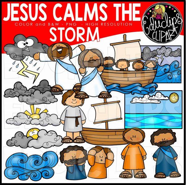 Jesus Calms The Storm Clip Art Set.