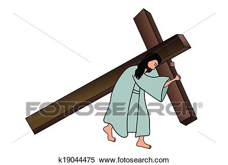 Jesus carrying the cross Clipart.