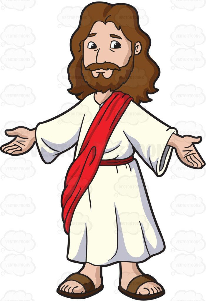 Jesus Christ Opening His Arms To Welcome Everyone: Cartoon image of.