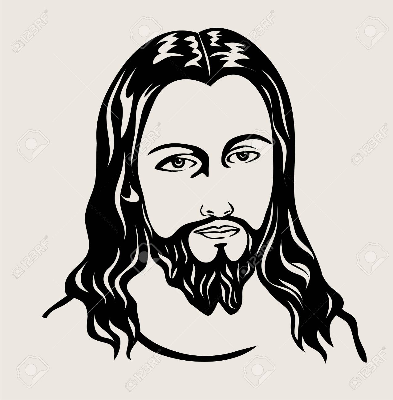 Jesus Christ sketch art design on silhouette black and white...
