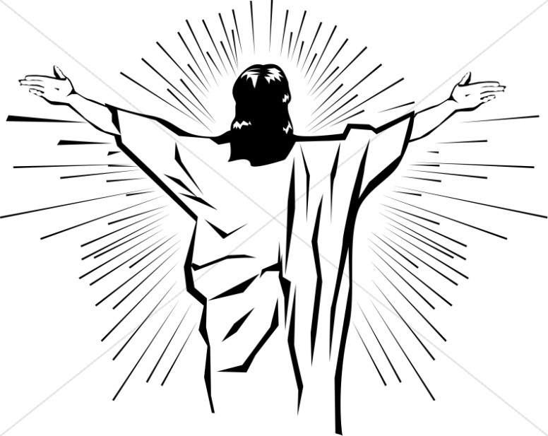 Black and White Jesus from Behind.