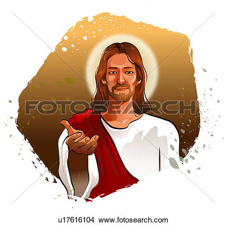 Drawings of Portrait of Jesus Christ gesturing u17616104.