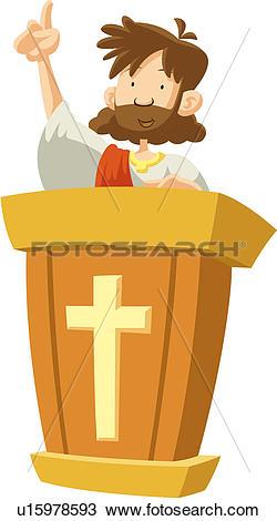 Drawing of jesus christ, cross, faith, pointing, rostrum, sermon.