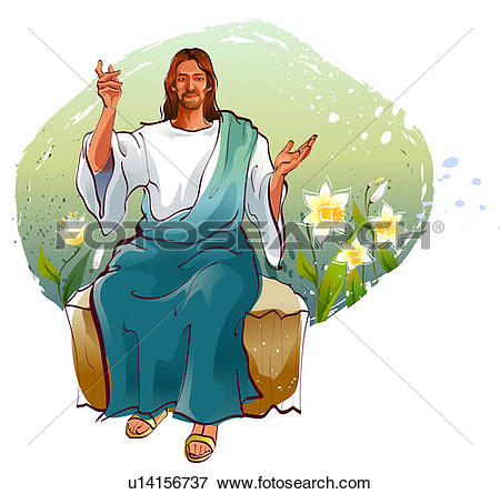 Drawing of Jesus Christ pointing upward u19028673.