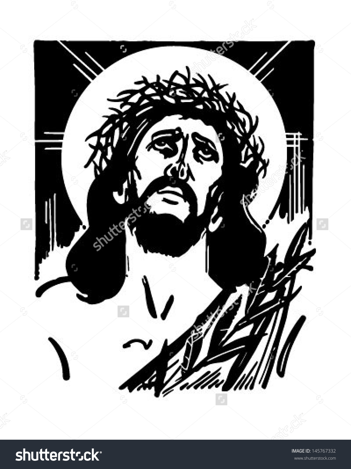 Jesus Crown Thorns Retro Clip Art Stock Vector 145767332.