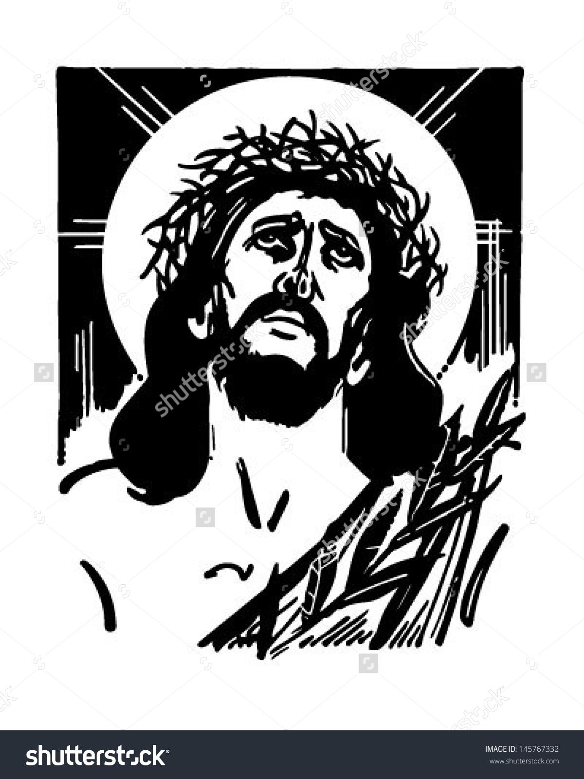 Jesus Crown Thorns Retro Clip Art Stock Vector 145767332.