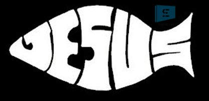 SIGN EVER Jesus Fish Logo Vinyl Decal Car Sticker L x H.