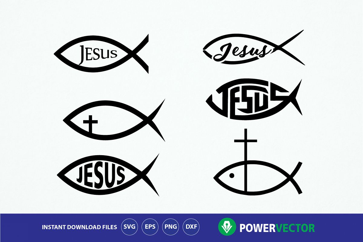 Fish Jesus Svg. Jesus Christ digital clipart.