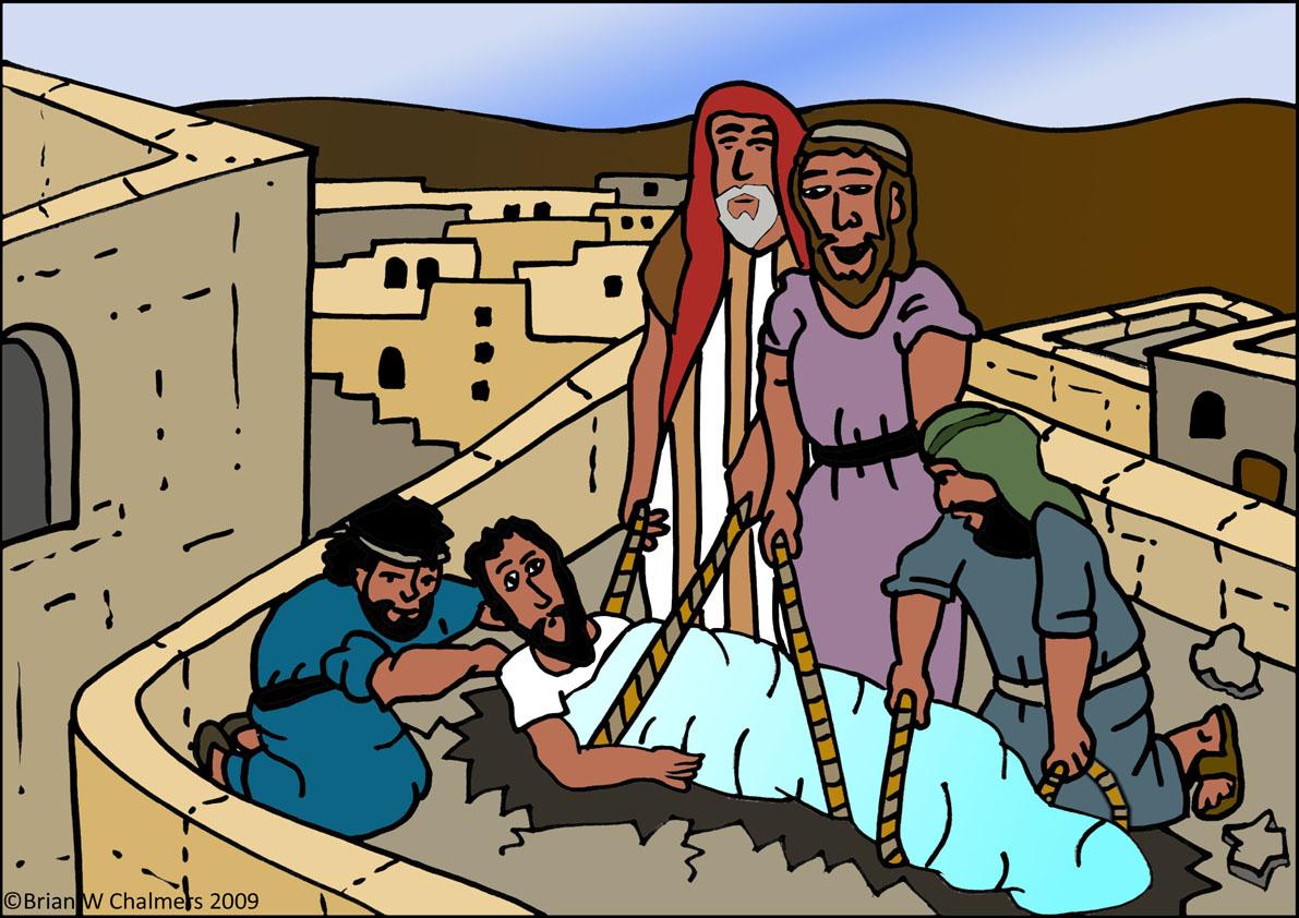 Jesus forgives and heals a paralyzed man.