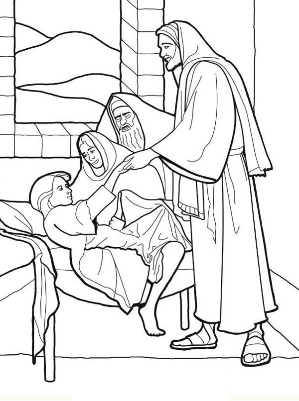 Sick Girl Who Healed by Miracles of Jesus Coloring Page.