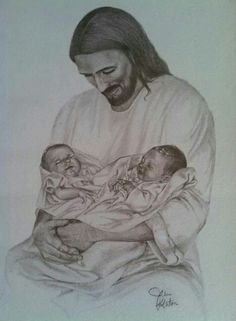 clipart Jesus holding twin babies.