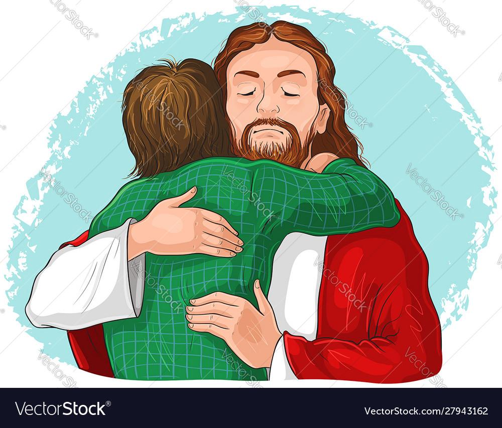 Jesus hugging child cartoon christian isolated.