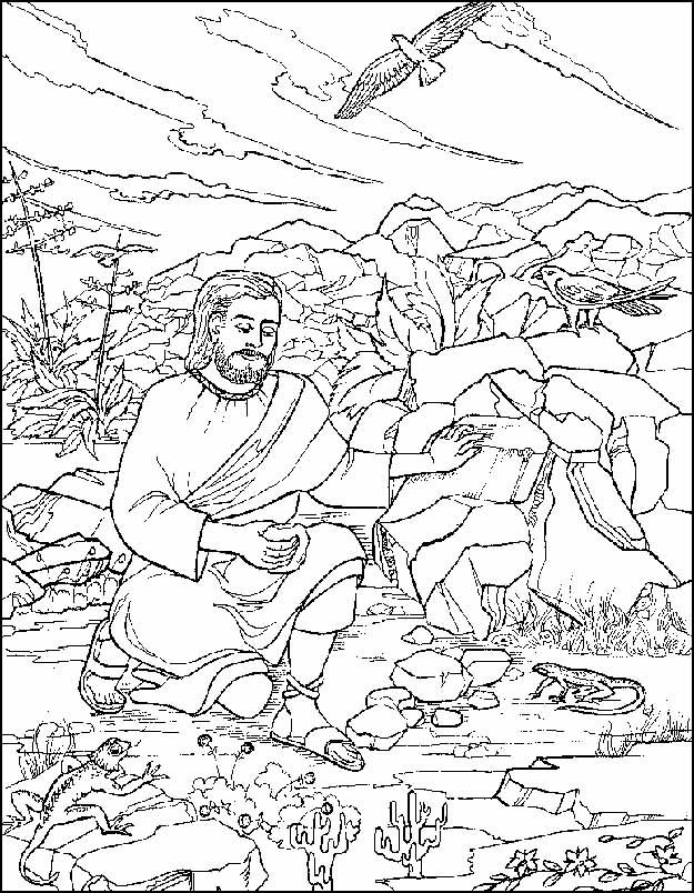 Jesus is Tempted in the Desert Coloring Pages.