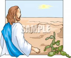 Jesus Walking In a Desert Clip Art Image.
