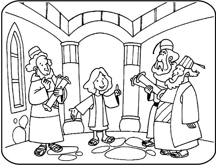 Coloring Pages Jesus In Temple.