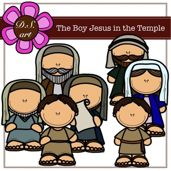 The Boy Jesus in the Temple Digital Clipart (color and black&white).
