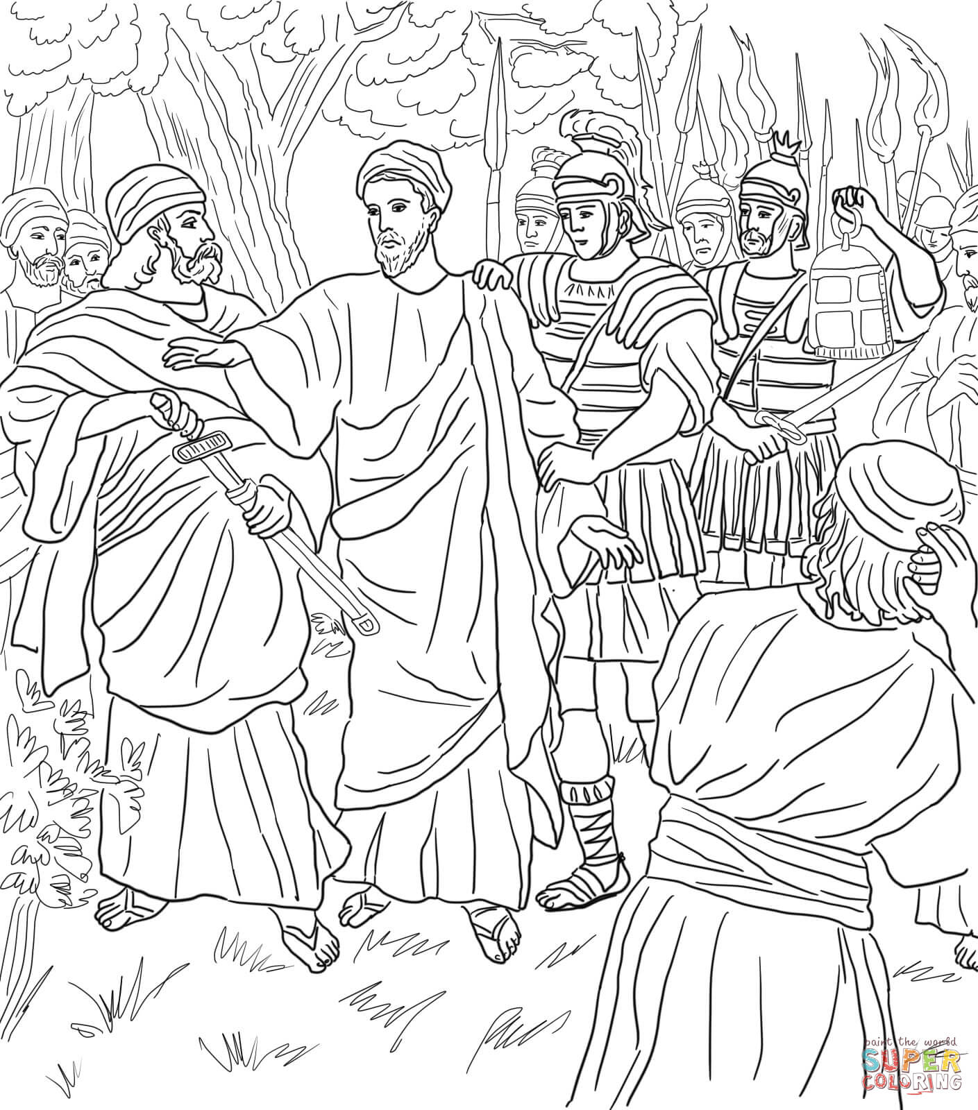 Jesus Arrested in the Garden of Gethsemane coloring page.