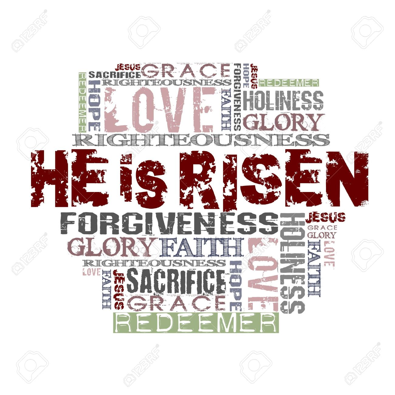 He Is Risen Religious Words Isolated On White Stock Photo, Picture.