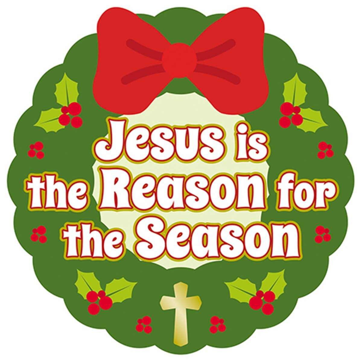 Jesus is the Reason for the Season Christmas Wreath Auto Magnet Bumper  Sticker, 6 Inch.