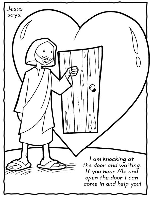 free christian coloring pages of a heart | jesus knocking clipart - Clipground