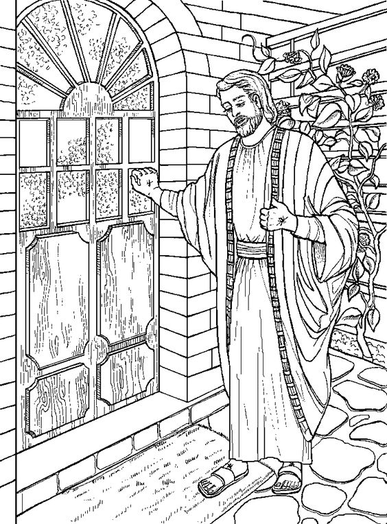 Jesus Christ knocking the door coloring page for kids download.
