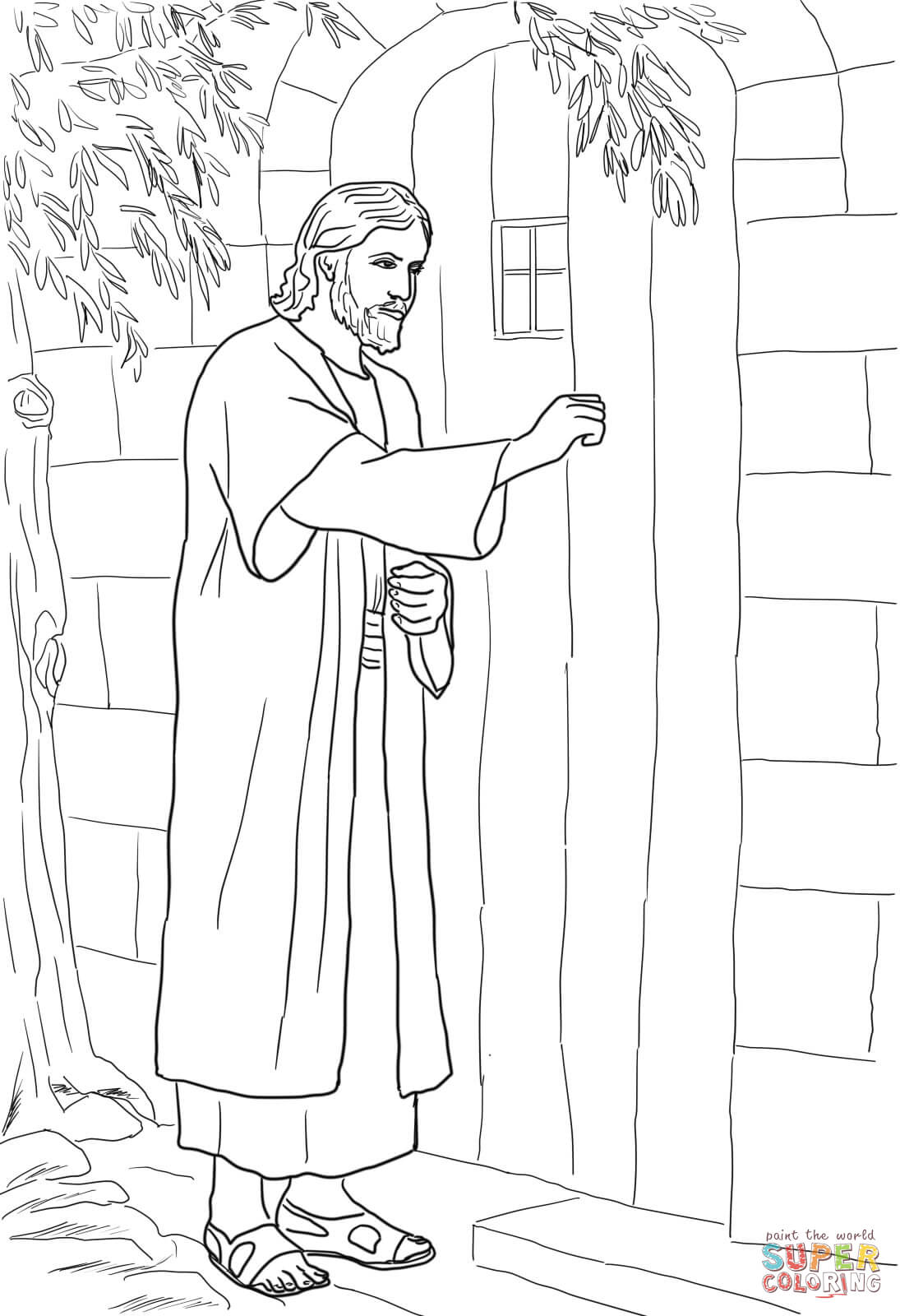 Jesus Knocking at the Door coloring page.