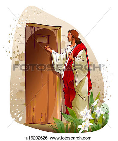 Stock Illustration of Jesus Christ knocking on a door u16202626.