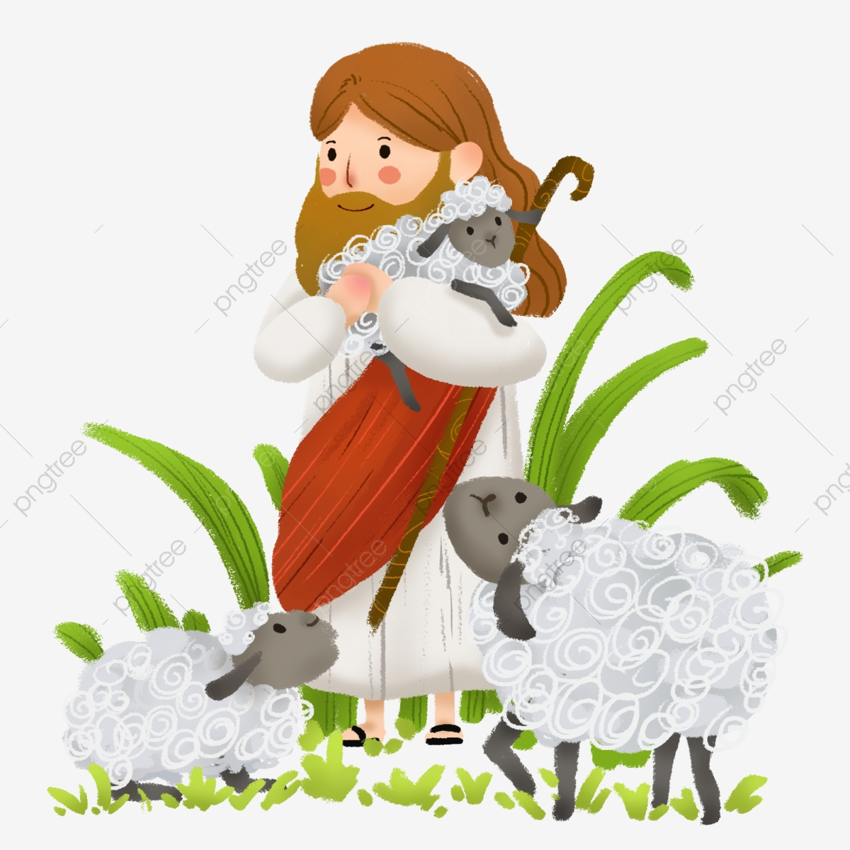 Jesus Christian Sheep Little Lamb, Lamb, Grass, White PNG.