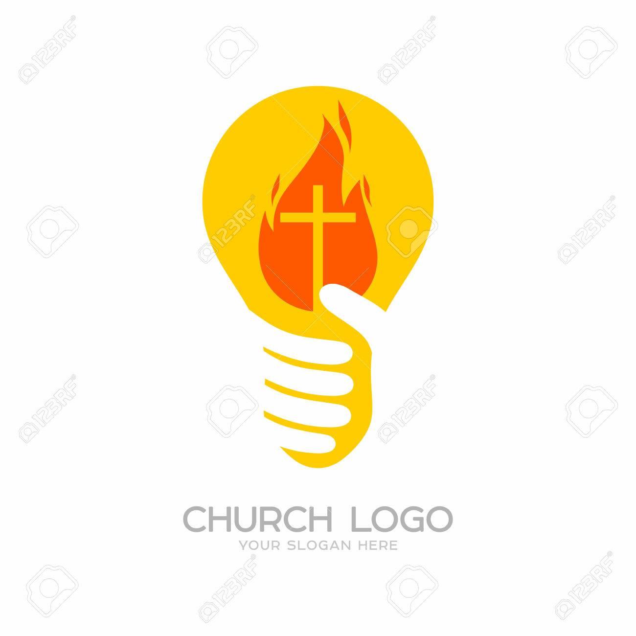 Church logo. Christian symbols. Lamp, light of the world.