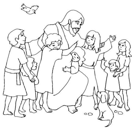 Jesus Loves Children Black And White Clipart.