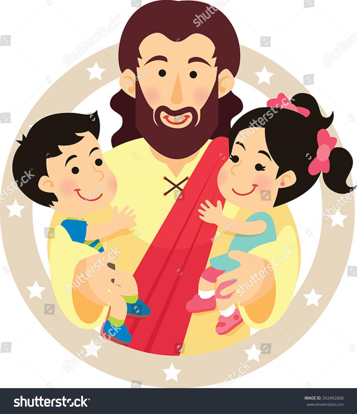 Jesus Love Children Stock Vector (Royalty Free) 392492668.