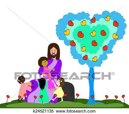 Jesus loves the little children Clipart.