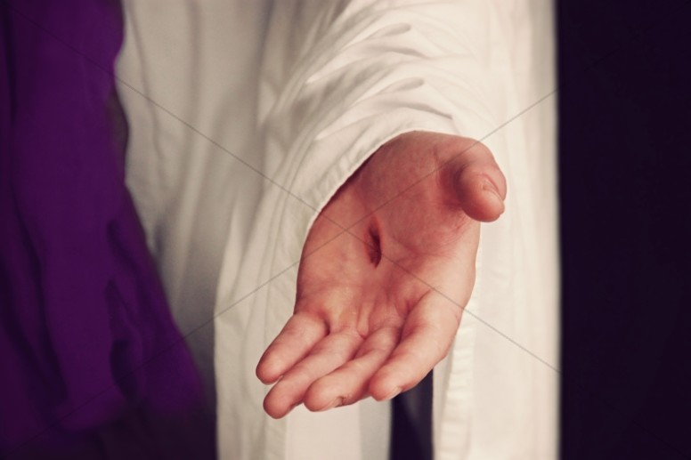 Jesus Scarred Hand Ministry Stock Image.