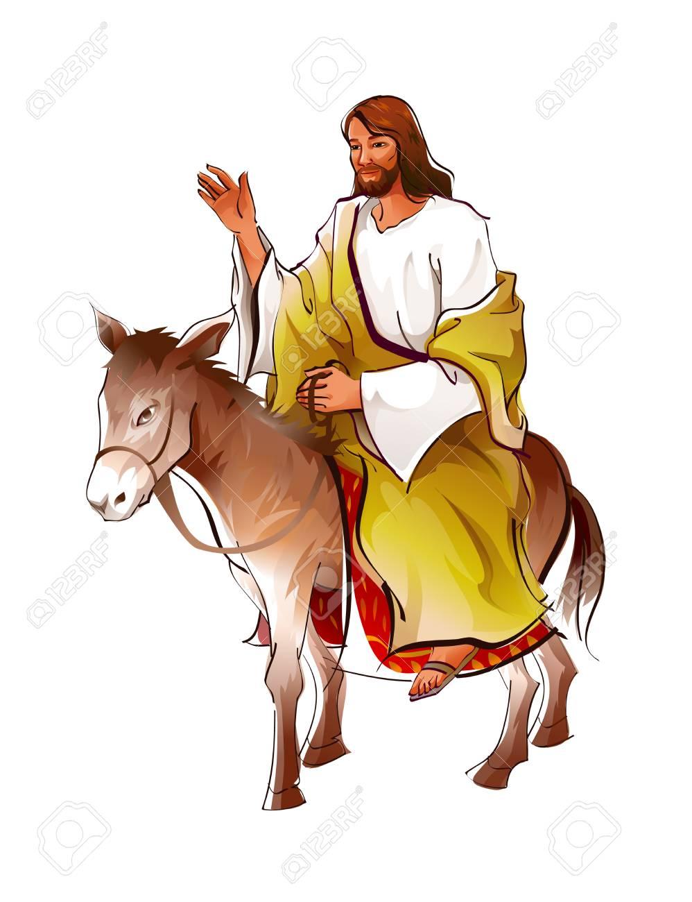 Side view of Jesus Christ sitting on donkey.