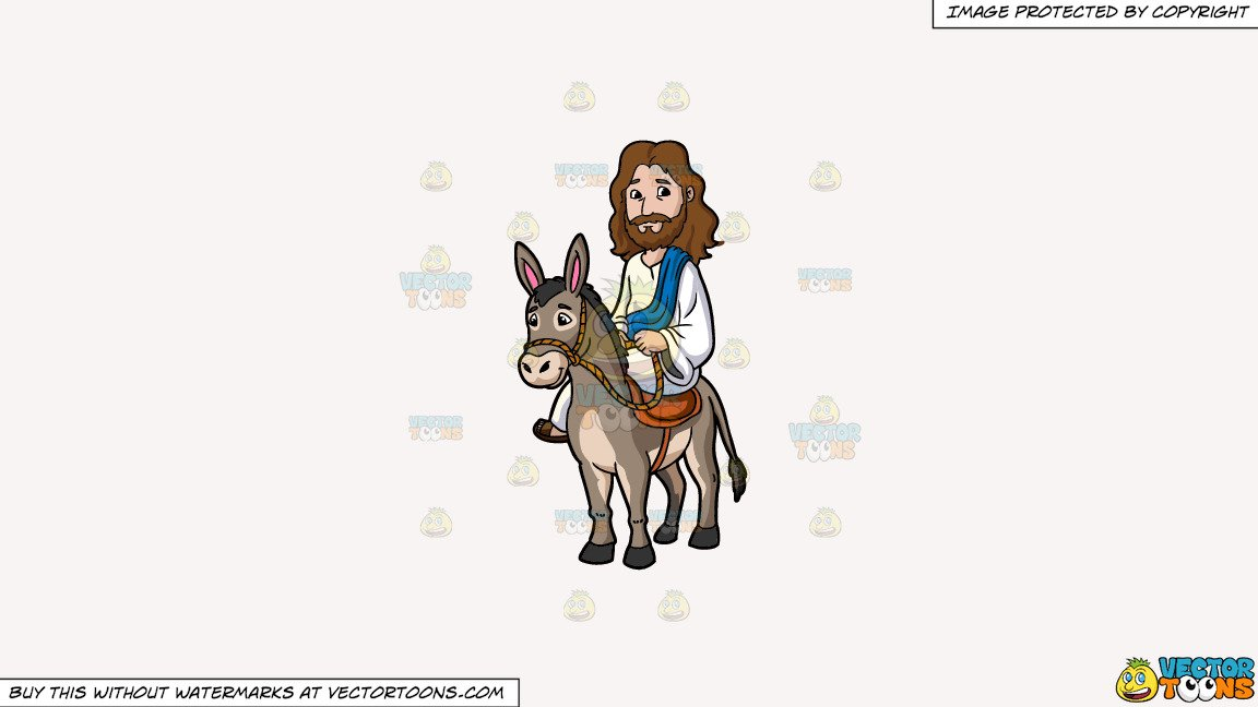 Clipart: Jesus Riding A Donkey on a Solid White Smoke F7F4F3 Background.