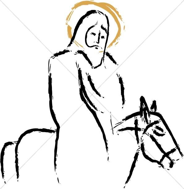 Jesus riding Donkey Painted Strokes.