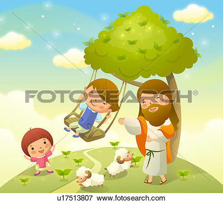 Stock Illustration of Jesus Christ playing with two children.