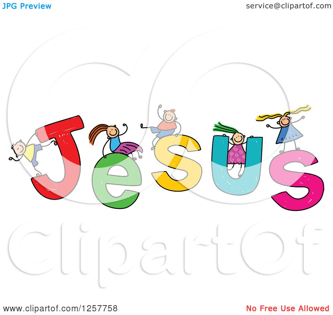 Clipart of a Group of Stick Children Playing on Jesus Text.