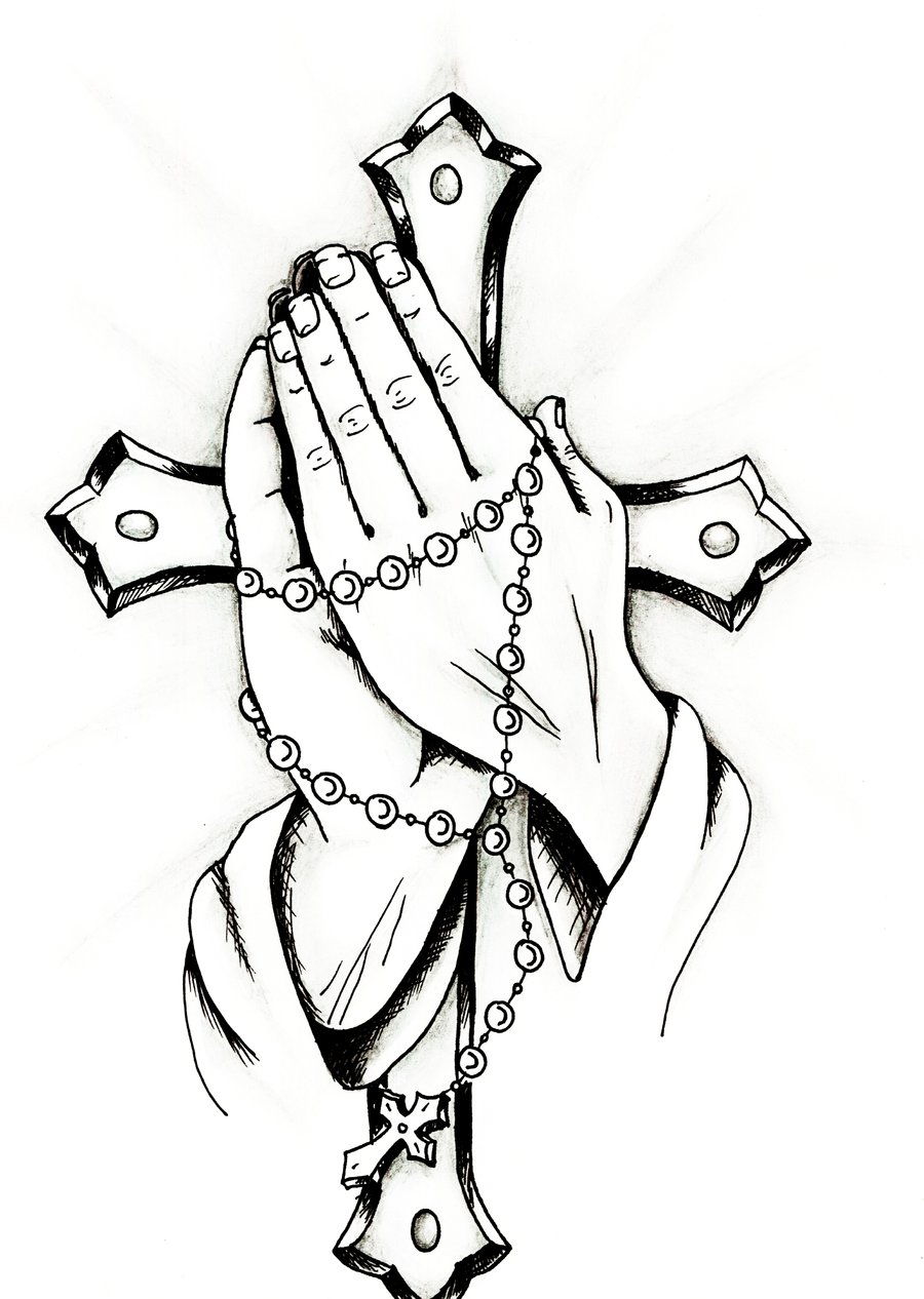 Free Praying Hands Holding A Cross, Download Free Clip Art.