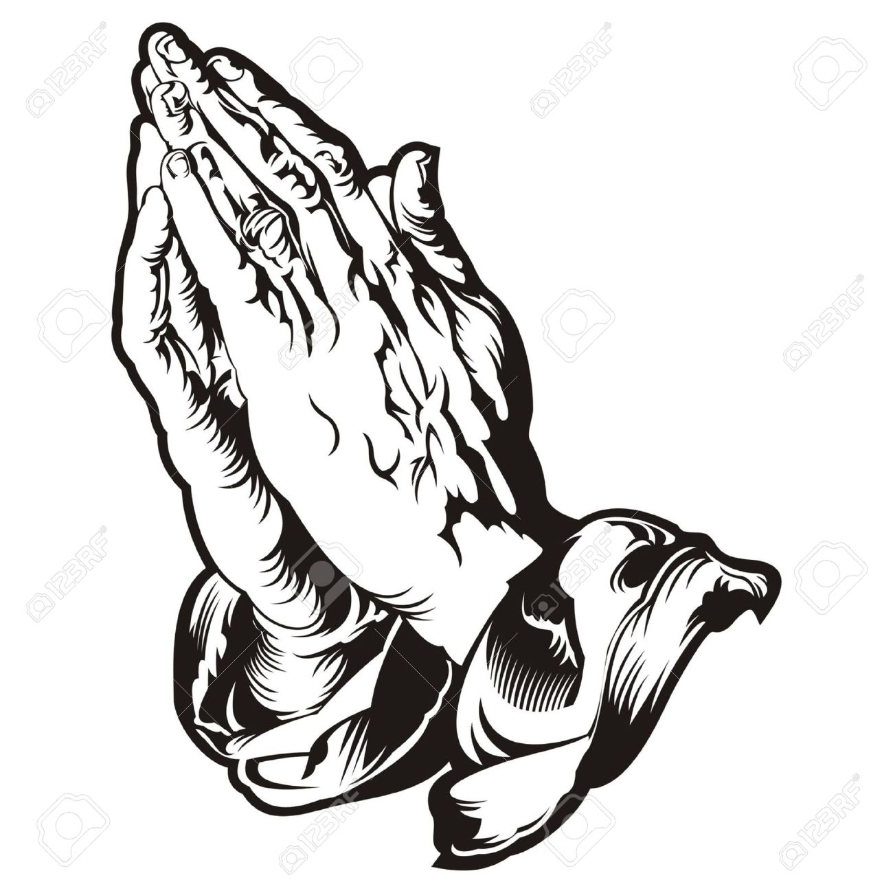 1744 Praying Hands free clipart.