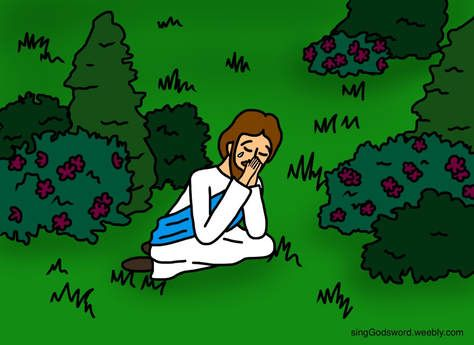 Jesus praying in the garden kids bible class material. free.