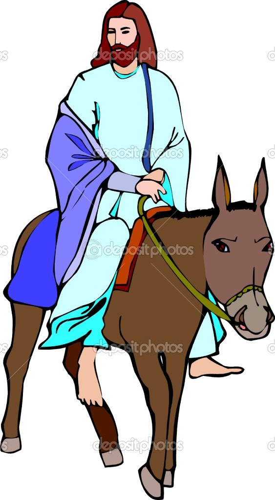 Jesus Riding On A Donkey Coloring.