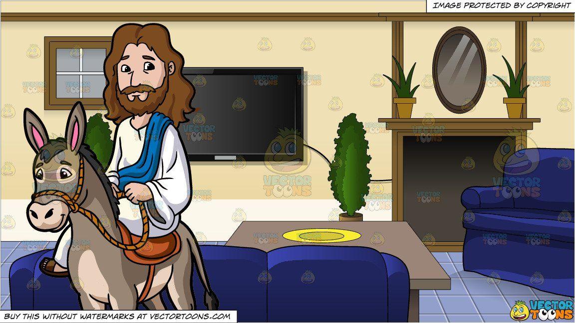 clipart #cartoon Jesus Riding A Donkey and Inside A Family Room.