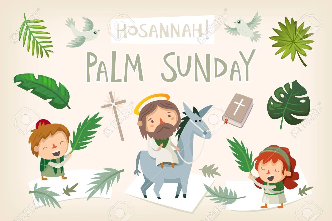 Jesus riding a donkey entering Jerusalem. People greeting him...
