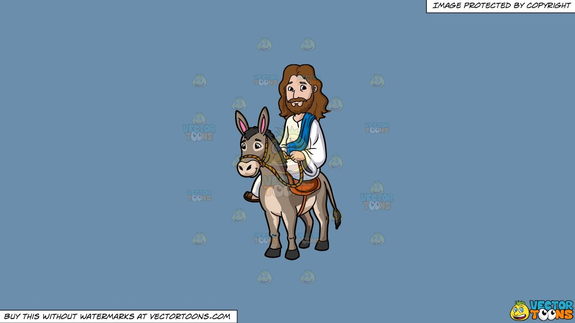 Clipart: Jesus Riding A Donkey on a Solid Shadow Blue 6C8Ead Background.