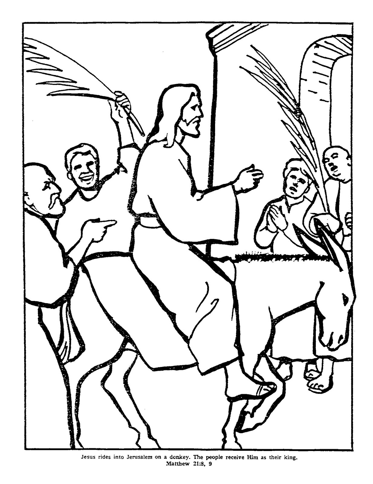 7 images of jesus on donkey coloring page