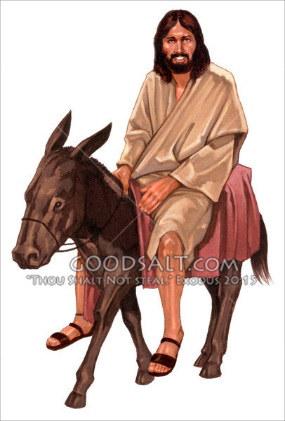 Pictures of jesus on donkey.